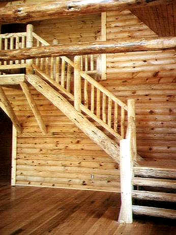 Stairs with Log Rails